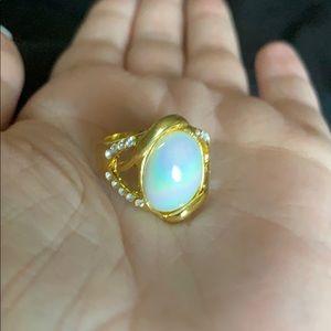 Iridescent White Stone rhinestone gold ring